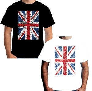 Wholesale Velocitee Mens Union Jack T Shirt Black White British Flag UK W16256