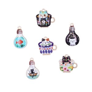 Japanese printing cute cartoon enamel cup cat charms kitten Pendant fashion alloy accessories toy jewelry hairpin Pendant Diy