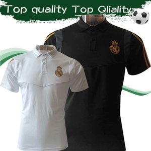 2019 Real Madrid Polo Shirts 19 20 Fitted Design Short Sleeve Polo Shirts White Black Soccer Training Uinforms Sales
