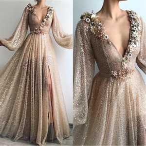 2020 Gold New V-neck Side Split Evening Dresses Saudi Arabic Celebrity Gowns Custom Made A-Line Prom Dress Robe De Soiree BC2550 on Sale