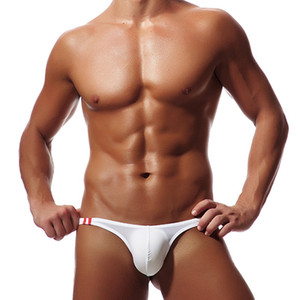 Wholesale MoneRffi Sexy Men s Thong Ice Silk Thin Mens Shorts Underwear Briefs Seamless Gay Panties Pouch Bikini Underpants M XL