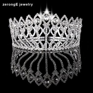 Wholesale zerongE jewelry Vintage Style Pageant Beauty Contest peacock Crown Full Circle Round Tall Tiara Crystal girl s tiara and crown
