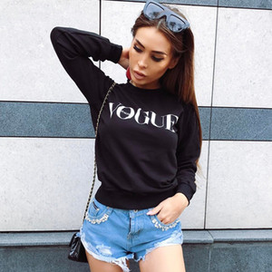 Wholesale Women Fashion Brand Hoodie VOGUE Letter Print Sweatshirt Knitted Long Sleeve Pullovers Polerones Mujer Harajuku Tops