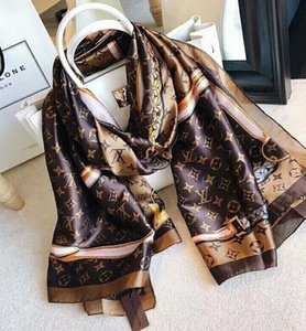 Wholesale Brand Silk scarf for Women Spring summer Designer Floral Flower Long Scarves With Tag Shawls