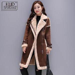 Women Faux Leather Lambs Wool Coat Female Long Thick Warm Shearling Coats Suede Leather Jackets Autumn Winter Female Outerwear T190923 on Sale