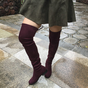 Wholesale Hot Sale Flat Heel Over the Knee Boots for Women Fashion Comfortable Thigh High Boots Winter Shoes Plus Size Black Grey Winered