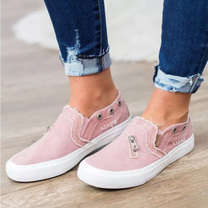 Zipper Canvas Shoes Hot sale Womens Loafers Flat Jeans casual women's slip on shoes Stylish Large Size Canvas Flat shoes