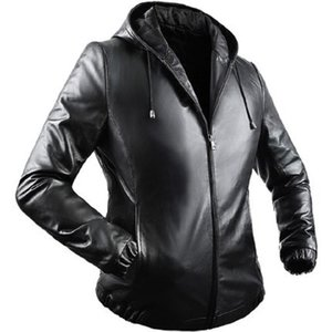 Beverry Genuine leather men's Jacket sheep skin hooded anti-wind motorcycle casual leather jacket Stylish Slim Fit Outerwear