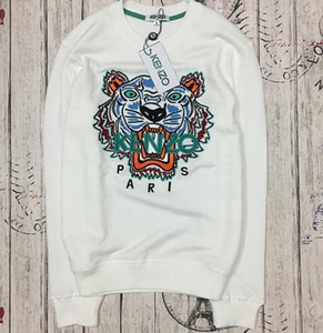 Wholesale 2018WEHot European Brand Tiger Head Embroidered Men Women Sweatshirts Cotton Autumn Winter Unisex Hoodies Casual Streetwear Jogger Tracksuit