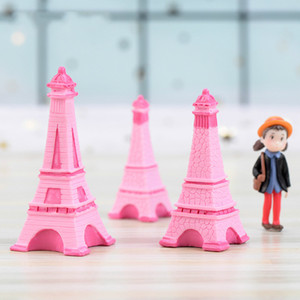 Pink Eiffel Tower Resin Craft Miniature Fairy Garden Desktop Room Decoration Micro Landscape Accessory Cactus Planter Gift