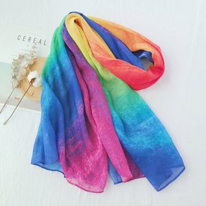 New women's scarf colorful gradient matching shawl multi-functional sunscreen beach towel large scarf