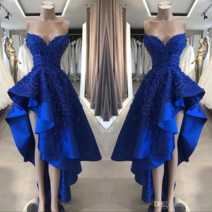 ingrosso alti vestiti bassi-Royal Blue High Low Prom Cocktail Dresses Real Image A Line Beaded Appliques Sweetheart Asimmetrici Abiti ornamenti lunghi