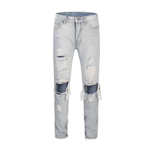 Wholesale Skinny Light Blue Mens Jeans High Fashion Washed Broken Hole Denim Pants Zipper Opening Design Slim Fit Homme Ripped Jeans