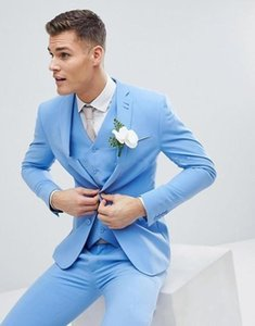 Wholesale Two Button Sky Blue Young Wedding Groom Tuxedos Notch Lapel Groomsmen Mens Dinner Prom Suits Jacket Pants Vest
