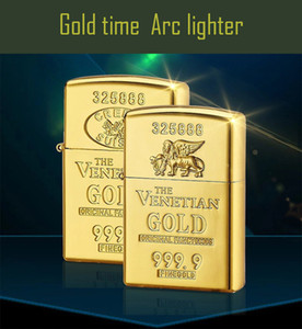 Gold Brick Plasma Lighter Double arcs Electric USB Rechargeable windproof cigarette Lighter inductive sensor switch touch control ignition
