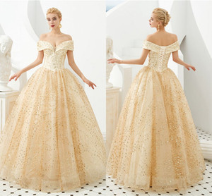 Wholesale 2020 Champagne Lace Appliqued A line Prom Dresses Luxury Off Shoulder Princess Evening Gown Real Pictures Formal Party Gown CPS1298