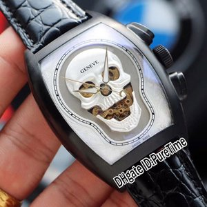 New Croco Collections Skull Skeleton Silver Tattoo Dial Automatic Mens Watch PVD Steel All Black Leather Sports Watches Puretime E92c3