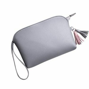 Wholesale Portable Gift Casual Card Holder Wrist Strap Solid Multifunctional Tassel Pendant Travel Women Purse Mini Handbag PU Leather