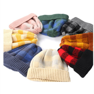 Wholesale new Woman Beanie Cap Plaid Print Knitted Cap Cute Baby Keep Warm Winter Hat Outdoor Adult Sports Ski Hat Kids T2C5077