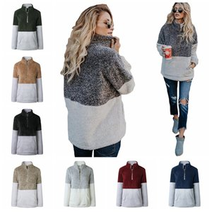 8colors Sherpa Pullover Hoodies Women Winter Fall Fleece Sweatshirt V-Neck Zipper Sweater Long Sleeve Jacket Tops Patchwork hoodies GGA1154 on Sale