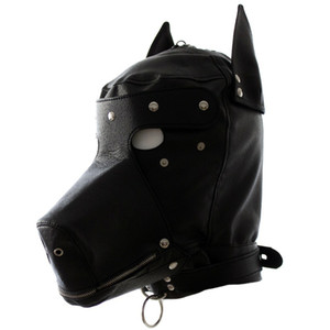 Wholesale Leather Fetish Dog Headgear Sexy Cosplay Hood Mask Head Harness Bondage Restraint Adult Sm Game Sex Toy For Women Men Gay Couple Y19060302