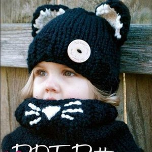 Wholesale Baby Cat Knitted Hats Scarf Pieces Set Kids Woolen Knitted Scarf Children Winter Outdoor Thermal Set Coarse Warm Caps Set ePacket