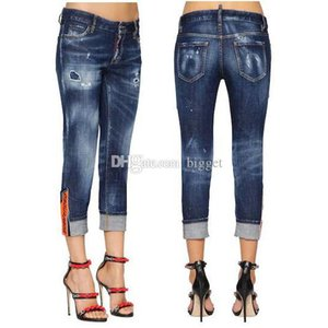 Wholesale New Fashion Design Jeans Ladies Women s Patch Detail Cuffed Hem Destroyed Jeans Cool Girl Cropped Fit