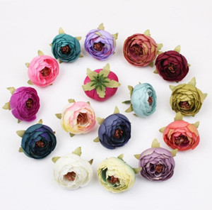 Wholesale artificial rose buds resale online - Wedding party DIY Mini Decorations flower artificial rose heads Artificial Flowers Silk Camellia Rose head fake tea rose bud