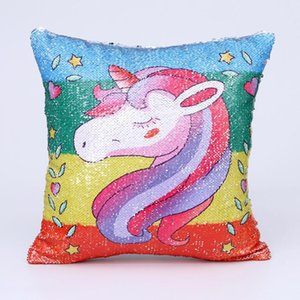 Wholesale Super Shining Magical Cartoon Mermaid Cushion Cover Sequins Reversible Color Changing D Printed Unicorn Pillow Case Pillow Cover BH0421