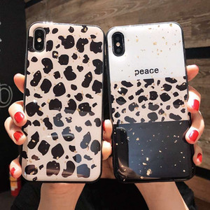 Wholesale white gold process resale online - Leopard Pattern Phone Cases Gold TPU Soft Side For Iphone Xs Max Epoxy Process Cell Phone Case For Iphone Plus