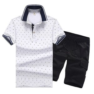 Men Tracksuit Dot Printed Male Large Yard Running Suit Summer Casual Sportsuit Mens Shirt With Jogger Short Pants on Sale