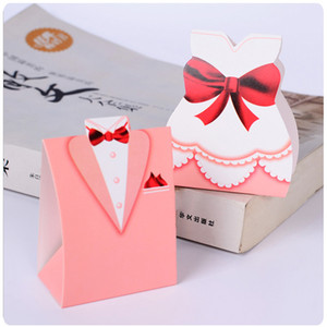 Wholesale 100 Pink Bridal Gift Cases Groom Tuxedo Dress Gown Ribbon Wedding Favor Candy Box Paper Packaging Gift Bag Wedding Decor T190709