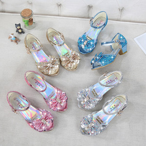 4 Colors Snow Queen Princess Leather Sandals Baby Kids Girls High Heels Dress Shoes Crystal Dancing Sandals Children Bow-knot Shoes M936-2