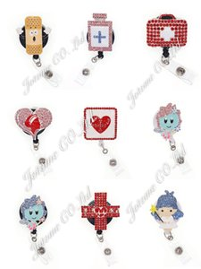 Wholesale aids day for sale - Group buy New design Fancy rhinestone enamel nurse nursing heart Angel band Aid medicine Retractable id badge holder Reel clip nurse day gift