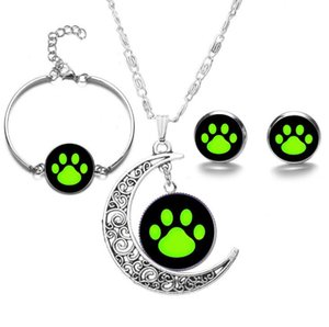 Wholesale Time Gem Green Bear Paw Print Bracelet And Stud Earrings Necklace Set Moon Silver Pendant Women Jewelry Set Charms Party Gift Friendship
