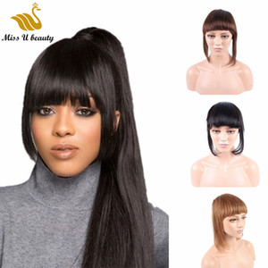 clip de flequillo negro al por mayor-Cabello humano real Bangs Black Brown Blonde Color Color Pieces Clip In On Hair Bangs Extensions para mujeres