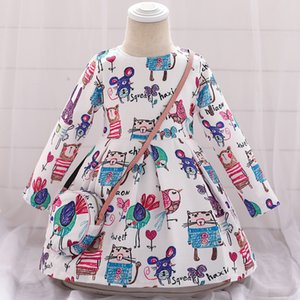 Wholesale Girl Christmas Dress Autumn Winter Floral Print Toddler Girl Dresses Kids Clothes Children Dress with Bag Long Sleeve
