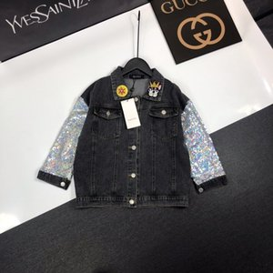 Wholesale Girls jacket kids designer clothes denim fabric autumn coat back unicorn pattern lapel sequin design coat Size 100-160