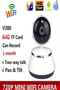Wholesale V380 Phone APP HD P Mini IP Camera Wifi Camera Wireless P2P Security Camera Night Vision IR Robot Baby Monitor Support G with box