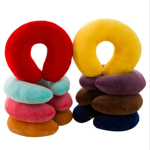 Wholesale U Type Neck Pillow Velvet Car Headrest Pure Color Airplane Travel Pillows Care For Cervical Vertebrae Office Worker Student Driver jxC1