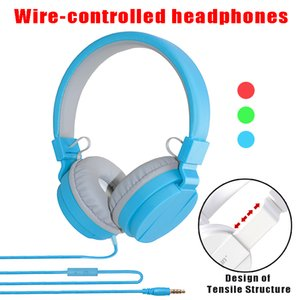 Wholesale Foldable Candy Color headphones MM Wired control headsets with microphone for mobile phone computer