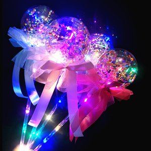 Wholesale Led Lights Fairy Sticks Magic Flashing Balls Stick Luminous Lights Magic Wand Starry Sky LED Bobo Ball Handheld Balloons with Bow B81402
