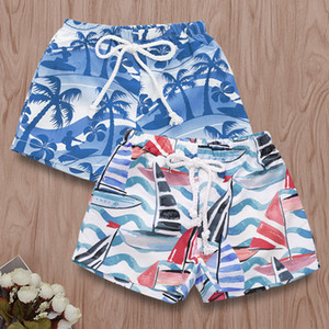 Wholesale Hawaiian Beach Printed baby boys swimming trucks kids boy shorts pants for swim chiildren bathingsuit