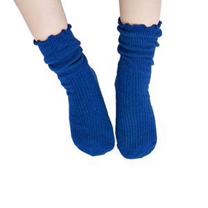 Children socks Wooden Ear Solid Color Crimping Mid Tube Socks Flanging Wear Two Sweat Breathable Children Socks 45 on Sale