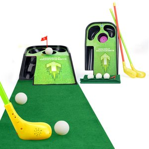 [ TOP ] Family Mini golf practice sets flash sounding vibration golf ball toy child sport Golf clubs carpet ball set kids gift