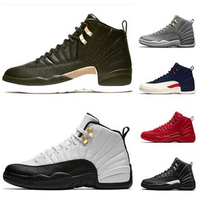 Wholesale 12 XII Mens Basketball Shoes Men s Midnight Black Flu Game Michigan taxi UNY Winterize Designer Trainer Sport Sneaker Online Sale