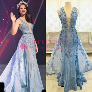 2019 Gorgeous Light Blue Sheer Neck Evening Dresses Overskirts Train Lace Appliques Beaded Crystal Sashes Illusion Back Zuhair Murad Dresses on Sale