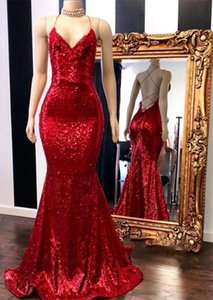 Hot Sell Shinning Sequins Red Mermaid Evening Dresses Sexy Criss Cross Backless Long Formal Party Prom Gowns Celebrity Dresses BC0420 on Sale