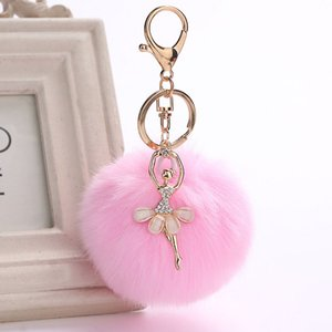 Wholesale RZ Pom Pom KeyChain Ballet Fake Rabbit Fur Ball Angel Girl bunny keyrings on bag multiple colour pompom key chain women J1740