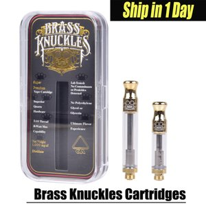 Brass Knuckles Cartridges Pyrex Glass 0.5ml 1.0ml Gold BUD Touch Thick Oil Atomizer Vape Pen Tank Drip tip With Logo AT186 on Sale